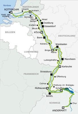 Rheinradweg map
